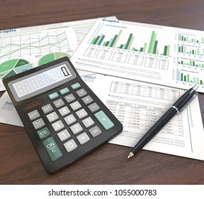3d Illustration of Financial documents, graphs and pie charts on wooden background. Pen and Calculator. Depth of field. Green Theme.