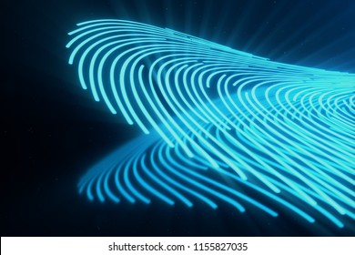 3D illustration Fingerprint scan provides security access with biometrics identification. Concept Fingerprint protection.Curved fingerprint. Concept of digital security