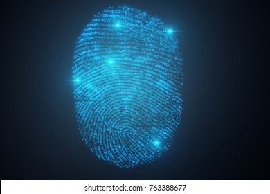3D illustration Fingerprint scan provides security access with biometrics identification. Concept Fingerprint protection.