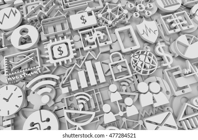 3D illustration , Fintech Investment Financial Internet Technology Concept. Internet of things concept , icon abstract background