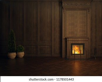 3D illustration fireplace in the room panelled in wood, potted plant