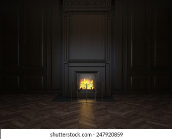 3d illustration fireplace in the room panelled in wood