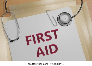 3D illustration of FIRST AID on a medical document