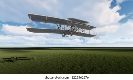 3D illustration of the first aircraft to fly on a grass background and blue sky. All images are computer modeled and rendered.