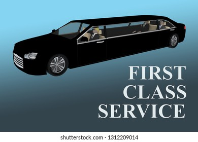 3D illustration of FIRST CLASS SERVICE title in front of a black limousine, with blue gradient background.