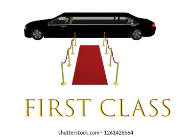 3D illustration of FIRST CLASS title in front of a red carpet in front of a black limousine, isolated on white background.
