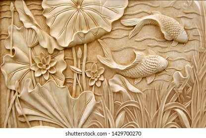 3D Illustration of fish and flower over decorative texture brown background 3D wallpaper. graphical poster modern art. 3D rendering
