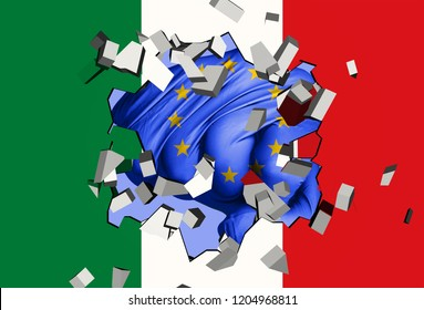 3D illustration: a fist-shaped EU flag hits and destroys the Italian flag. It is an allegorical image of the crisis between EU and Italy followed by the Italian election in 2018