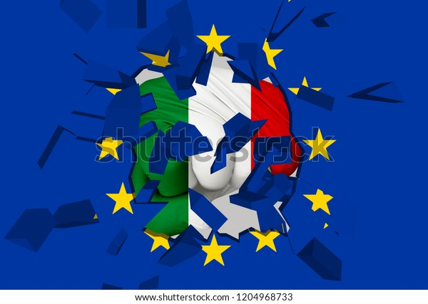 3D illustration: a fist-shaped Italian flag hits and destroys the EU flag. It is an allegorical image of the crisis between EU and Italy followed by the Italian election in 2018
