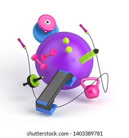3D illustration of the fitness equipment: fitball, weight, dumbbells, water bottle, jump rope, apples, step platform