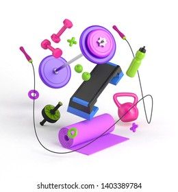 3D illustration of the fitness equipment: step platform, weight, dumbbells, water bottle, jump rope, yoga mat, apples