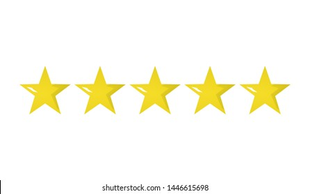 3d illustration of five golden yellow stars in a row - best, top quality concept graphic representation. Isolated on white.