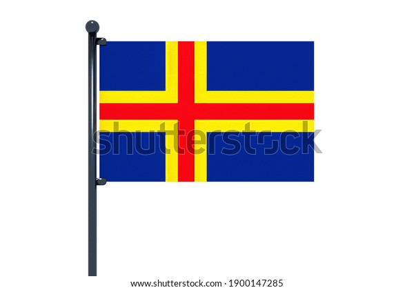 3D illustration of flag of Aland Islands with chrome flag pole with snap hooks in blue sky straight. White background via an alpha channel of great precision.