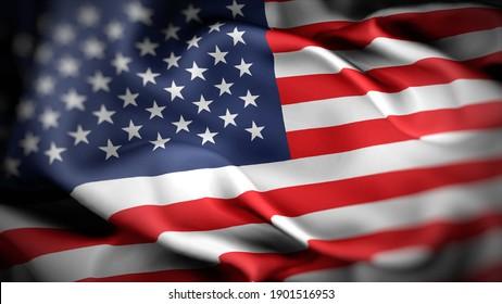 3d illustration flag of America. close up waving flag of America. flag symbols of America.