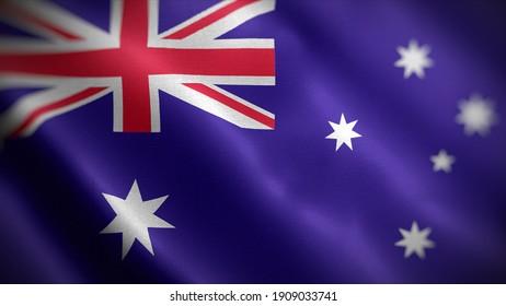 3d illustration flag of Australia. close up waving flag of Australia. flag symbols of Australia.