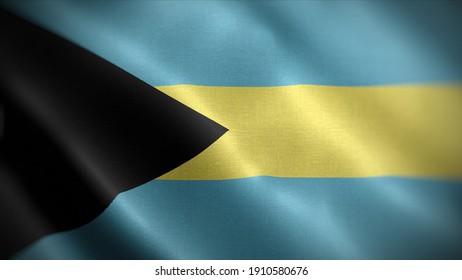 3d illustration flag of Bahamas. close up waving flag of Bahamas. flag symbols of Bahamas.