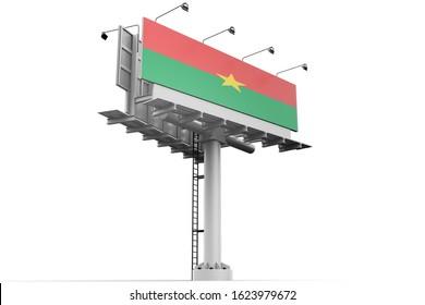 3d illustration Flag of Burkina Fason Modern Advertising Billboard.Burkina FasoFlag for advertising, award, achievement, festival, election.