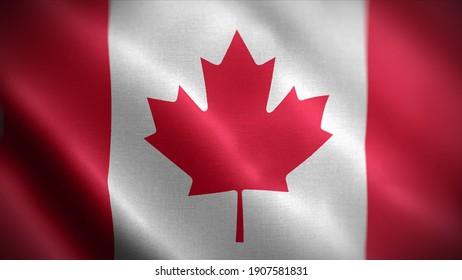 3d illustration flag of Canada. close up waving flag of Canada. flag symbols of Canada.