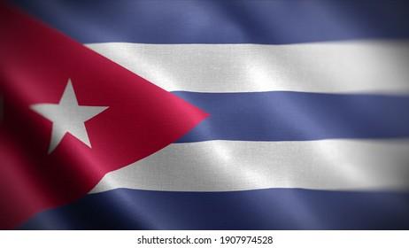 3d illustration flag of Cuba. close up waving flag of Cuba. flag symbols of Cuba.