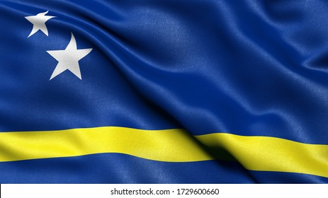 3D illustration of the flag of Curacao waving in the wind.