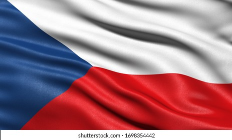 3D illustration of the flag of the Czech Republic waving in the wind.