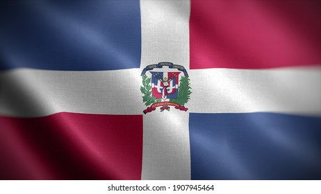 3d illustration flag of Dominican. close up waving flag of Dominican. flag symbols of Dominican.
