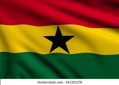 3d illustration flag of Ghana