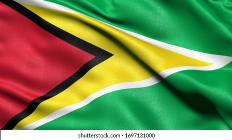 3D illustration of the flag of Guyana waving in the wind.