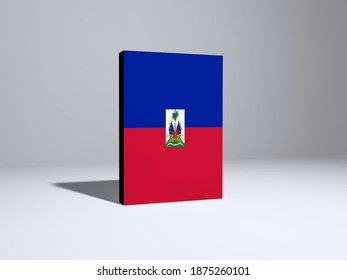 3d illustration - Flag of Haiti on Book Cover. Book covered with Haiti Flag for advertising, education, achievement, festival, election.