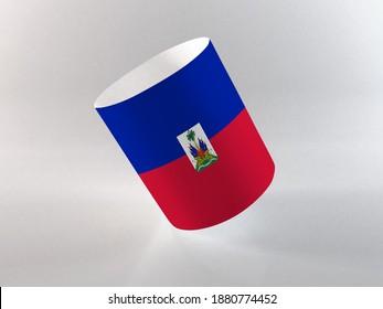 3d illustration - Flag of Haiti on Mug. Haiti souvenir mug on white background for advertising, education, achievement, festival, election.