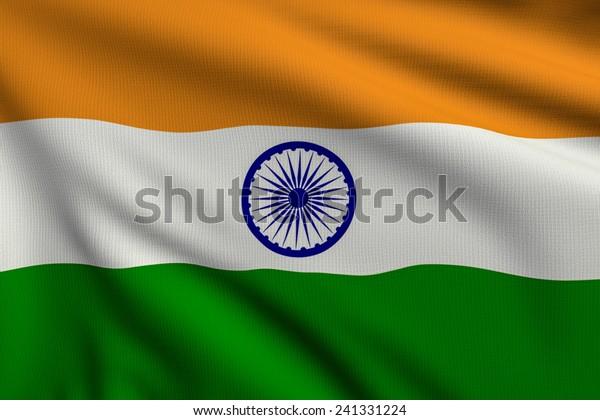 3d illustration flag of India