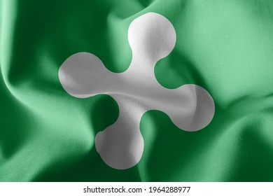 3D illustration flag of Lombardy is a region of Italy. Waving on the wind flag textile background