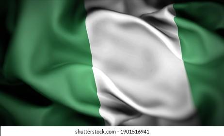 3d illustration flag of Nigeria. close up waving flag of Nigeria. flag symbols of Nigeria.