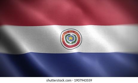 3d illustration flag of Paraguay. close up waving flag of Paraguay. flag symbols of Paraguay.