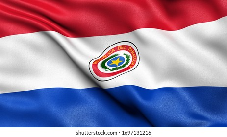 3D illustration of the flag of Paraguay waving in the wind.