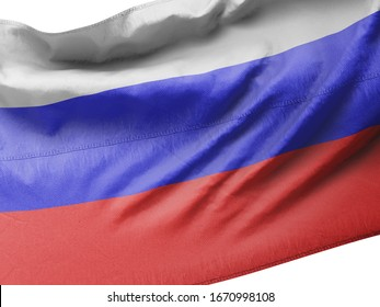 3d illustration - Flag of Russia on Flag pole in Blue Sky. Russia Flag for Independence Day, celebration, election. The symbol of the state on wavy cotton fabric.