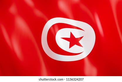 3D illustration. Flag of Tunisia waving in the wind.