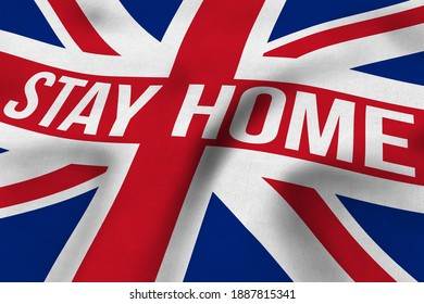 """3D illustration of a flag of the United Kingdom with """"Stay Home"""" written on it"""