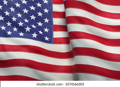 A 3d illustration of the flag of the United States of America