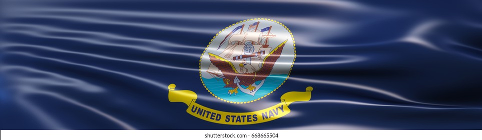 3D Illustration of the flag of United States Navy rendered in large wide format