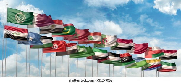 3D Illustration of the flags of 22 members of the Arab League waving against blue sky
