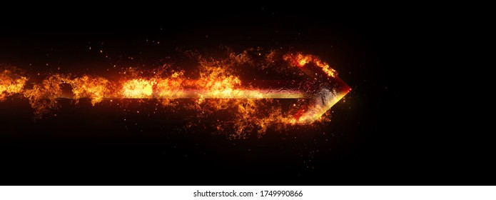 3D illustration of a flame arrow flying in the dark