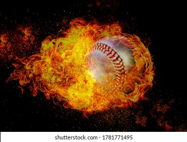3D illustration of a flame baseball ball floating in the air