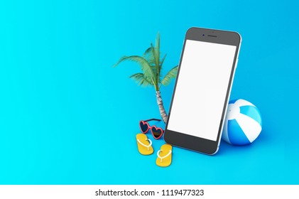 3d illustration. flip flops, sunglasses and beach ball  with smartphone with white screen. Tropical summer vacation concept.