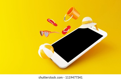 3d illustration. flip flops, sunglasses, beach ball and straw hat on a smartphone screen. Tropical summer vacation concept.