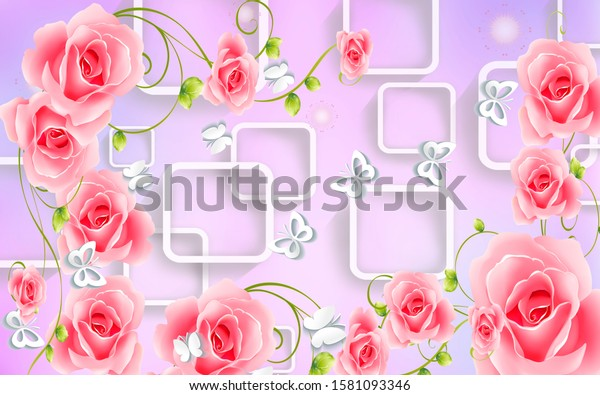 3d illustration of flower for wall mural customization