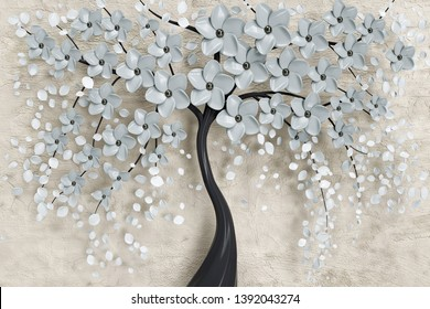 3d illustration of flower background-3d wallpaper
