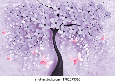 3d illustration of flower background-3d wallpaper with butterfly,3D rendering