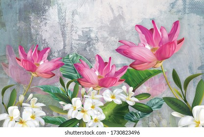 3d illustration of flowers in brilliant bloom in spring line. Luxurious abstract art digital painting for wallpaper