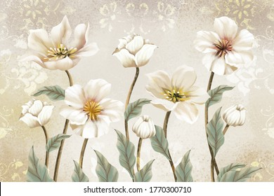 3d illustration of flowers on a luxury vintage background
